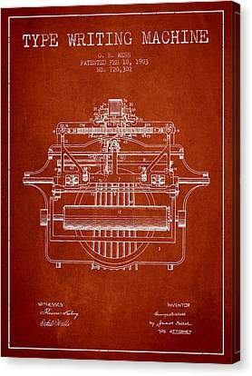 1903 Type Writing Machine Patent - Red Canvas Print