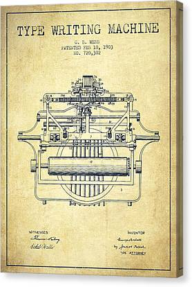 1903 Type Writing Machine Patent - Vintage Canvas Print by Aged Pixel