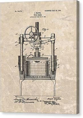 Fermentation Canvas Print - 1903 Wine Press Patent by Dan Sproul