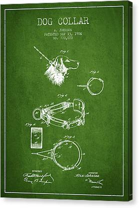 1904 Dog Collar Patent - Green Canvas Print