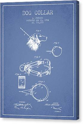 1904 Dog Collar Patent - Light Blue Canvas Print