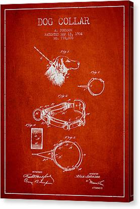 1904 Dog Collar Patent - Red Canvas Print