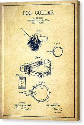 1904 Dog Collar Patent - Vintage Canvas Print