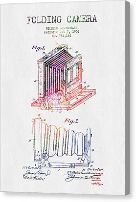 1904 Folding Camera Patent - Color Canvas Print by Aged Pixel