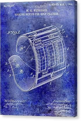 Scoring Canvas Print - 1904 Golf Scoring Device Blue by Jon Neidert
