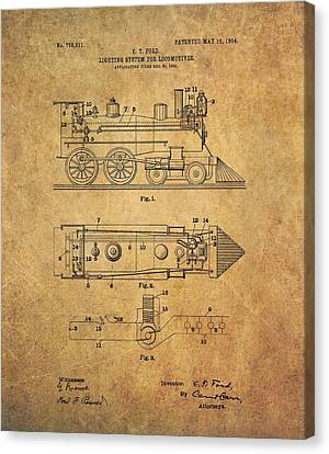 1904 Locomotive Patent Canvas Print by Dan Sproul