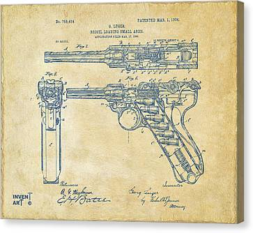 1904 Luger Recoil Loading Small Arms Patent - Vintage Canvas Print by Nikki Marie Smith