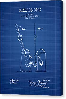 Celebrities Canvas Print - 1904 Metronome Patent - Blueprint by Aged Pixel