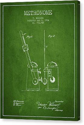 Celebrities Canvas Print - 1904 Metronome Patent - Green by Aged Pixel