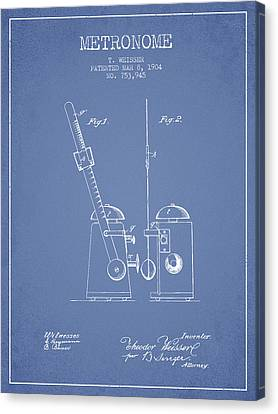 Celebrities Canvas Print - 1904 Metronome Patent - Light Blue by Aged Pixel