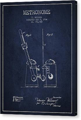 Celebrities Canvas Print - 1904 Metronome Patent - Navy Blue by Aged Pixel