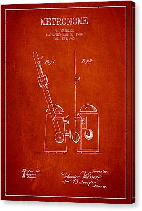 Celebrities Canvas Print - 1904 Metronome Patent - Red by Aged Pixel