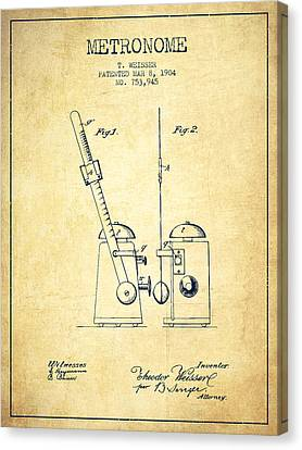 Celebrities Canvas Print - 1904 Metronome Patent - Vintage by Aged Pixel
