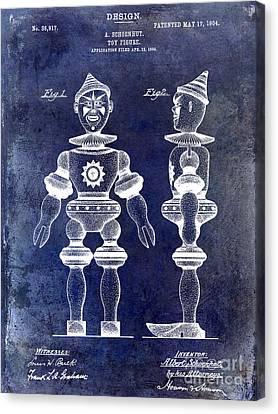 1904 Toy Patent Drawing Blue Canvas Print by Jon Neidert