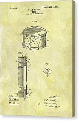 Marching Band Canvas Print - 1905 Drum Patent by Dan Sproul