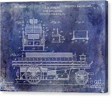 1905 Fire Apparatus Blue Canvas Print by Jon Neidert
