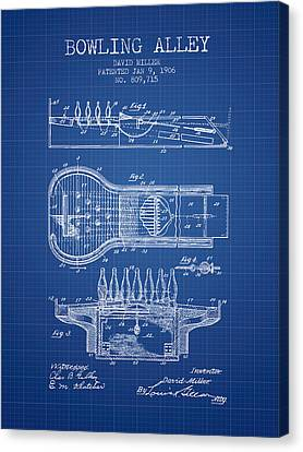 1906 Bowling Alley Patent - Blueprint Canvas Print by Aged Pixel