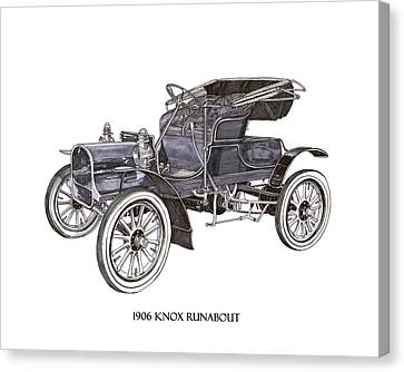 Canvas Print featuring the drawing 1906 Knox Model F 3 Surry by Jack Pumphrey