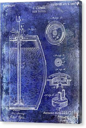 1907 Beer Tapper Patent Blue Canvas Print