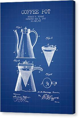 Bistro Canvas Print - 1907 Coffee Pot Patent - Blueprint by Aged Pixel