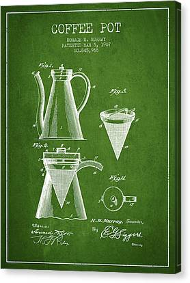 1907 Coffee Pot Patent - Green Canvas Print by Aged Pixel