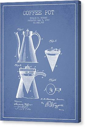 Drawing Of Lovers Canvas Print - 1907 Coffee Pot Patent - Light Blue by Aged Pixel