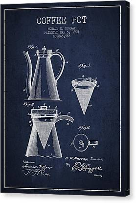 1907 Coffee Pot Patent - Navy Blue Canvas Print by Aged Pixel