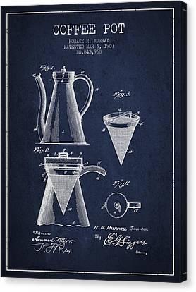 1907 Coffee Pot Patent - Navy Blue Canvas Print