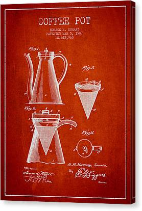 1907 Coffee Pot Patent - Red Canvas Print