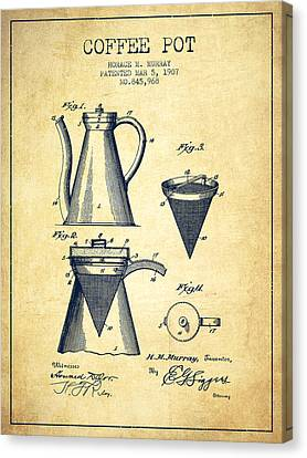 1907 Coffee Pot Patent - Vintage Canvas Print by Aged Pixel