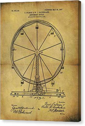 1907 Ferris Wheel Patent Canvas Print by Dan Sproul