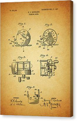 1907 Fishing Reel Patent Canvas Print