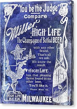 1907 Miller Beer Advertisement Blue Canvas Print