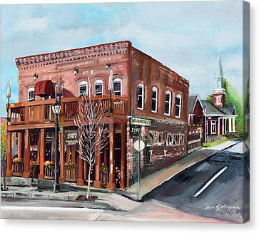 Canvas Print featuring the painting 1907 Restaurant And Bar - Ellijay, Ga - Historical Building by Jan Dappen