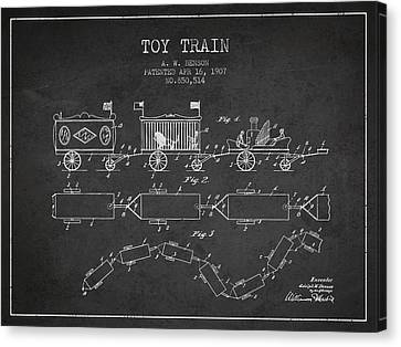 Vintage Trains Canvas Print - 1907 Toy Train Patent - Charcoal by Aged Pixel
