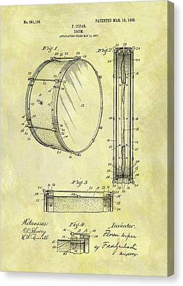 1908 Drum Patent Canvas Print by Dan Sproul