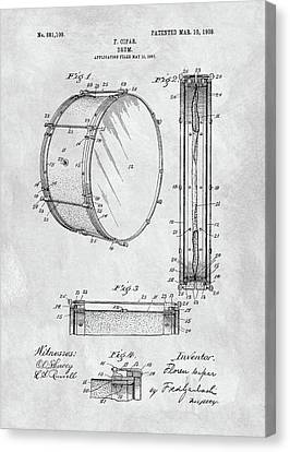 1908 Drum Patent Illustration Canvas Print by Dan Sproul