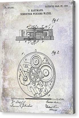 1908 Pocket Watch Patent  Canvas Print