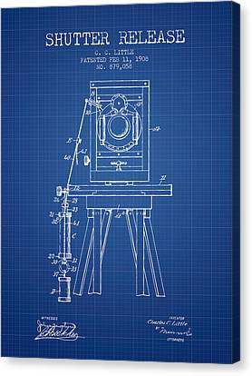 1908 Shutter Release Patent - Blueprint Canvas Print by Aged Pixel