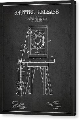 1908 Shutter Release Patent - Charcoal Canvas Print