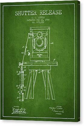 1908 Shutter Release Patent - Green Canvas Print