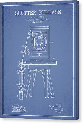 1908 Shutter Release Patent - Light Blue Canvas Print by Aged Pixel