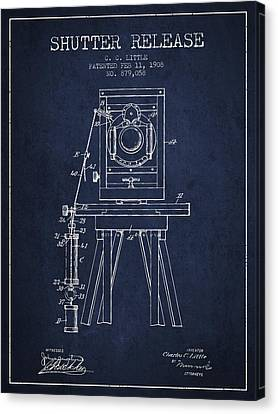 1908 Shutter Release Patent - Navy Blue Canvas Print by Aged Pixel
