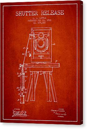 1908 Shutter Release Patent - Red Canvas Print