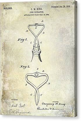 1909 Cork Extractor Patent Canvas Print by Jon Neidert
