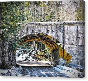 1909 Country Backroad Train Overpass Canvas Print