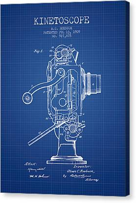 1909 Kinetoscope Patent - Blueprint Canvas Print by Aged Pixel
