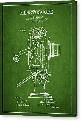 1909 Kinetoscope Patent - Green Canvas Print by Aged Pixel