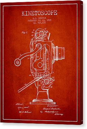 1909 Kinetoscope Patent - Red Canvas Print by Aged Pixel