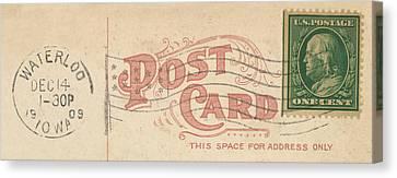 1909 Postcard Canvas Print by Greg Joens